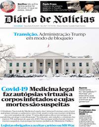 capa Diário de Notícias de 10 novembro 2020