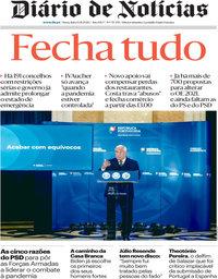 capa Diário de Notícias de 13 novembro 2020