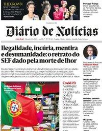 capa Diário de Notícias de 14 novembro 2020