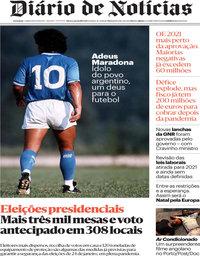 capa Diário de Notícias de 26 novembro 2020