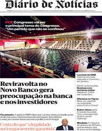 capa Diário de Notícias de 27 novembro 2020