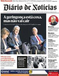 capa Diário de Notícias de 28 novembro 2020