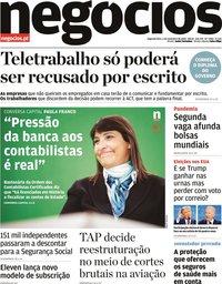 capa Jornal de Negócios de 2 novembro 2020