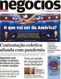 capa Jornal de Negócios de 3 novembro 2020