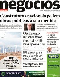 capa Jornal de Negócios de 4 novembro 2020