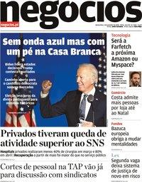 capa Jornal de Negócios de 5 novembro 2020