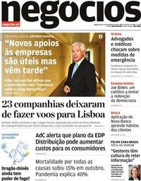 capa Jornal de Negócios de 9 novembro 2020