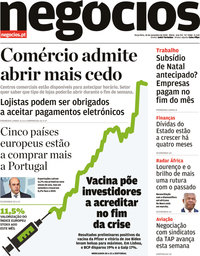 capa Jornal de Negócios de 10 novembro 2020