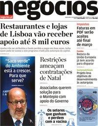 capa Jornal de Negócios de 11 novembro 2020