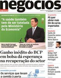capa Jornal de Negócios de 16 novembro 2020