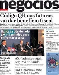 capa Jornal de Negócios de 17 novembro 2020