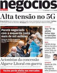 capa Jornal de Negócios de 19 novembro 2020