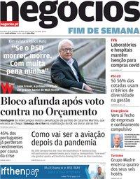 capa Jornal de Negócios de 20 novembro 2020