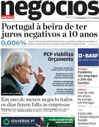 capa Jornal de Negócios de 26 novembro 2020