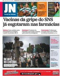 capa Jornal de Notícias de 2 novembro 2020