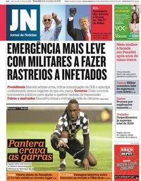 capa Jornal de Notícias de 3 novembro 2020