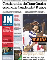 capa Jornal de Notícias de 4 novembro 2020