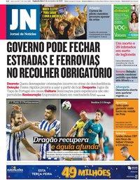 capa Jornal de Notícias de 9 novembro 2020