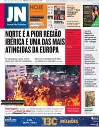 capa Jornal de Notícias de 14 novembro 2020