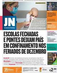 capa Jornal de Notícias de 22 novembro 2020