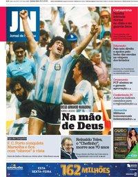capa Jornal de Notícias de 26 novembro 2020