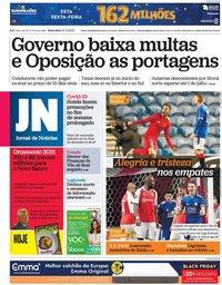 capa Jornal de Notícias de 27 novembro 2020