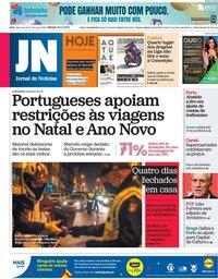 capa Jornal de Notícias de 28 novembro 2020