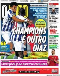 capa Jornal O Jogo de 4 novembro 2020