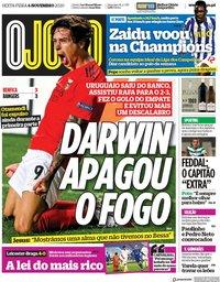 capa Jornal O Jogo de 6 novembro 2020