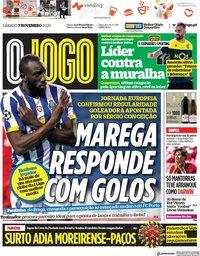 capa Jornal O Jogo de 7 novembro 2020