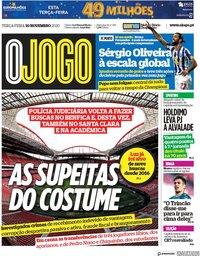 capa Jornal O Jogo de 10 novembro 2020