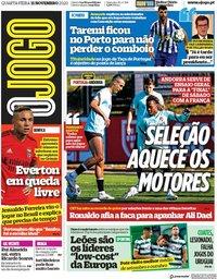 capa Jornal O Jogo de 11 novembro 2020