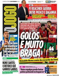 capa Jornal O Jogo de 12 novembro 2020