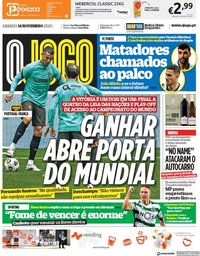 capa Jornal O Jogo de 14 novembro 2020