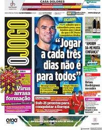capa Jornal O Jogo de 16 novembro 2020