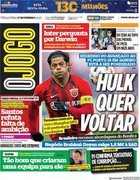 capa Jornal O Jogo de 17 novembro 2020
