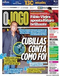 capa Jornal O Jogo de 19 novembro 2020