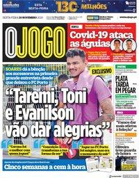 capa Jornal O Jogo de 20 novembro 2020