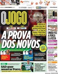 capa Jornal O Jogo de 21 novembro 2020