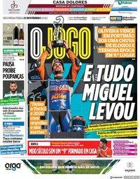capa Jornal O Jogo de 23 novembro 2020