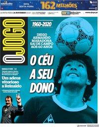 capa Jornal O Jogo de 26 novembro 2020