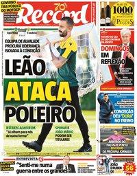 capa Jornal Record de 1 novembro 2020