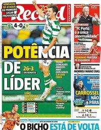 capa Jornal Record de 2 novembro 2020