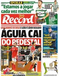 capa Jornal Record de 3 novembro 2020
