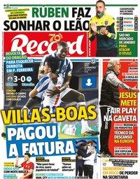 capa Jornal Record de 4 novembro 2020