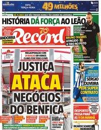 capa Jornal Record de 10 novembro 2020