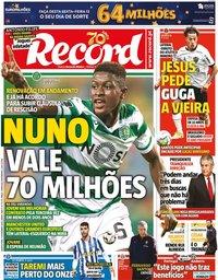 capa Jornal Record de 11 novembro 2020
