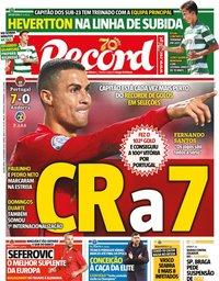 capa Jornal Record de 12 novembro 2020