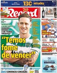 capa Jornal Record de 14 novembro 2020