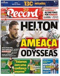 capa Jornal Record de 16 novembro 2020